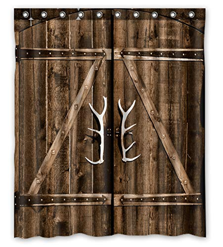 FMSHPON Wooden Garage Barn Door Vintage Rustic Country Wooden Gate with Antler Handles Decor Waterproof Fabric Bathroom Shower Curtain Size 60x72 inches