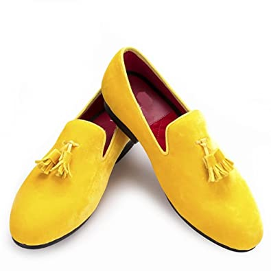 Men's Velvet Tassel Loafers Casual Wedding Dress Shoes Slip-On Yellow Shoes (US 8)