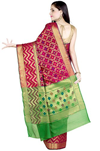 Chandrakala Women's Red Cotton Silk Banarasi Saree(1242RED) by Chandrakala (Image #2)