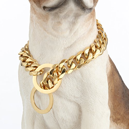 Aiyidi Custom Size Strong Heavy Dog Collar Slip Chain Choker Gold Plated 15/19mm Curb Cuban Link for Medium and Large Dogs Training Collar (19mm, 20inches)