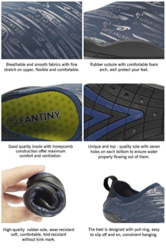 CIOR Männer Frauen Barfuß Quick-Dry Wasser Sport Aqua Schuhe mit 14 Drainage Löcher für Schwimmen, Walking, Yoga, See, Strand, Garten, Park, Fahren Marine