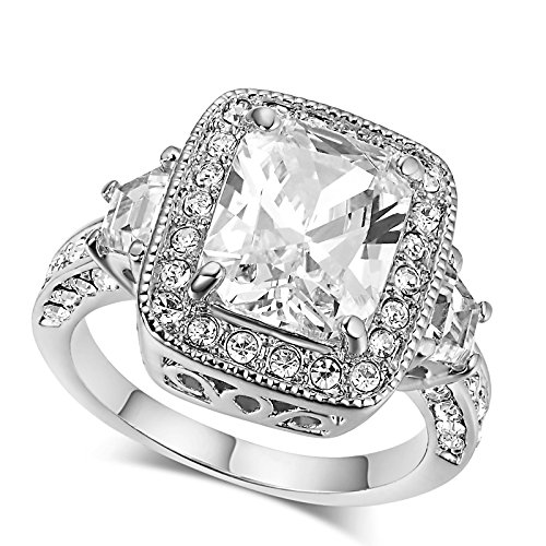 LAMOON Womens Eternity Love Princess Cut CZ Crystal Solitaire Promise Ring Simulation Diamonds Engagement For Women