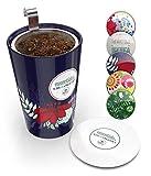 #3: Steep & Strain Ceramic Tea Mug - Insulated Cup with Tea Infuser and Lid - Gift Travel Coffee Mug - Purple Floral