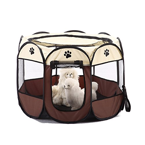 MaruPet Pet Gear Travel Lite Octagon Pet Pen with Removable Top for Cats and Dogs Brown M