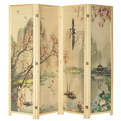 MyGift 4-Panel Asian-Inspired Bamboo-Screen Room Divider