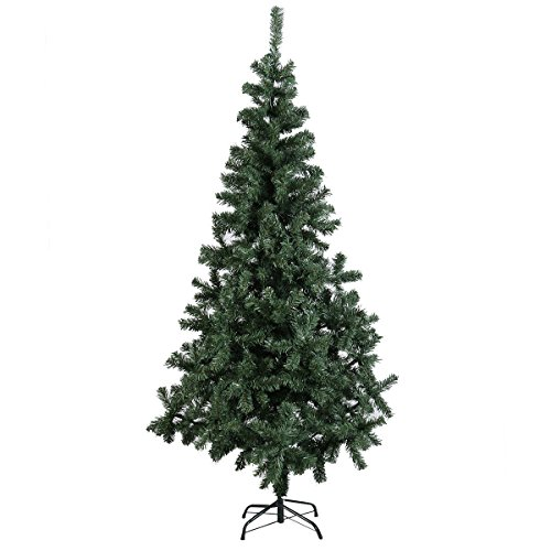 Tangkula 5 Ft Artificial Christmas Pine Tree with Metal Legs 295 Tips Green