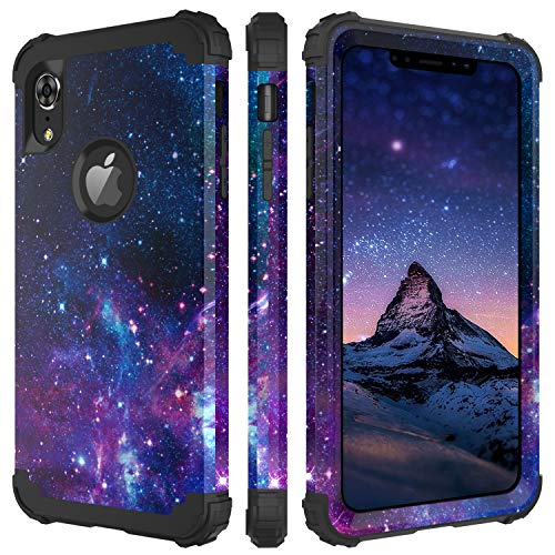 (BENTOBEN iPhone XR Case, iPhone Xr Case Purple Space, 3 in 1 Heavy Duty Slim Nebula Galaxy Design Hybrid Hard PC Back Cover Soft Silicone Bumper Full Body Protective Phone Cases for iPhone XR, Space)