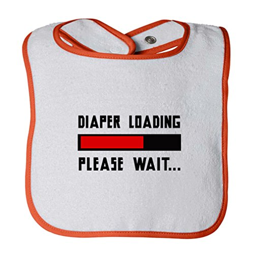 Diaper Loading Please Wait... Infant Contrast Trim Terry Bib White/Orange by Cute Rascals