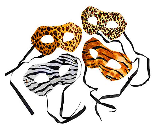 (4E's Novelty Zoo Animal Safari Print Costume Masks, Pack of 12 Assorted Designs, Great Birthday Party Supplies for)