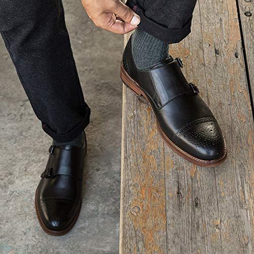 XZP Slip Dress formale fibbia Black Shoes Brown Cuoio Wedding Party Mens On EU Office Men For Brogue Color genuino 41 Size doppio v74nwvxrXq