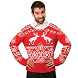 FunQi Gifts Men's Pooping Moose Ugly Christmas Sweater Medium Red