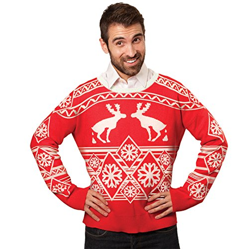 FunQi Gifts Men's Pooping Moose Ugly Christmas Sweater Medium Red by FunQi Gifts (Image #3)