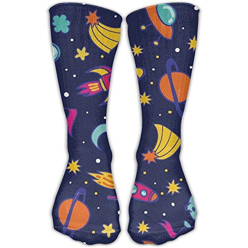 Jadetian Outer Space Rocket Planet UFO Unisex Athletic Breathable Socks Ankle Socks Casual Sport Socks