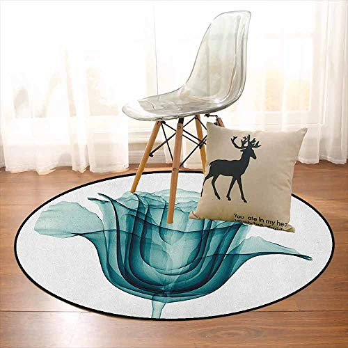 Flower Non-Slip Absorbent Carpet X-ray Image of a Rose Flower Romance Symbol Creative Artistic Nature Picture Print for Floor Carpets D39.7 Inch Teal White