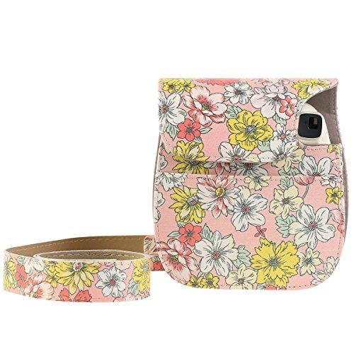 Katia Instax Mini 8 PU Leder Instax Mini 8 / 8+ / 9 Kamera Tasche für Fujiflim Instax Mini 8 Sofortbildkamera mit Schultergurt und Tasche - Rose Rose