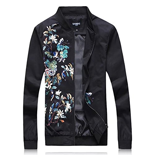 zhenzhou 2017 New Arrival Korean Style Slim Fit Floral Print Bomber Jacket For Men