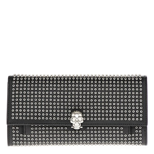 Alexander McQueen Studded Skull Clutch with Chain Black (Clutch Mcqueen Alexander)