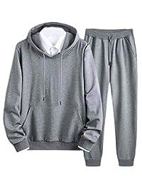 Etecredpow-CA Mens 2 Piece Sweatshirt Pants Outfits Sportwear Hooded Tracksuit Set