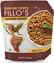 FILLO'S Panamanian Garbanzo Beans, Ready to Eat Sofrito Beans, 6 Count, 10 Ounces Each, Seasoned with Fresh Ve