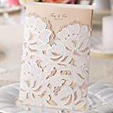 Wishmade Wedding Invitations Cards, White, 100 Pieces, CW100, Customized Printing