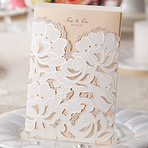Wishmade Wedding Invitations Cards, White, 100 Pieces, CW100, Customized Printing by Wishmade