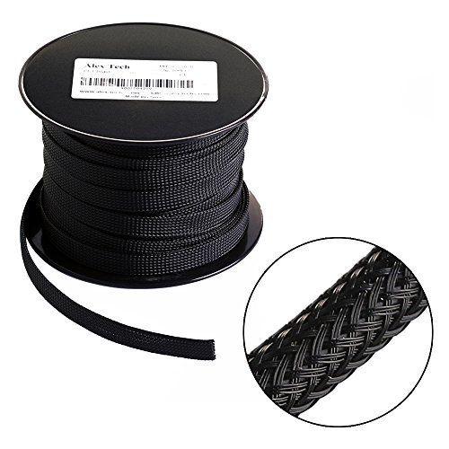25ft - 1.5 inch Flexo PET Expandable Braided Sleeving - Black - Alex Tech Braided Cable Sleeve