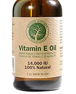 Vitamin E Oil Blend Pure & Natural 14000IU(d-alpha tocopherol)+Jojoba Oil+Vitamin C+Coconut Oil. Unique Nourishing Oils Known to Assist Diminish Fine Lines, Stretch Marks, Promoting Cell Regeneration.