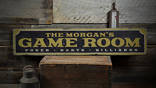 Cheap The Lizton Sign Shop Family Game Room Wood Sign, Custom Name Sign, Poker Darts Billiards Man Cave Home Decor – Rustic Hand Made Vintage Wooden Sign – 11.25 x 60 Inches