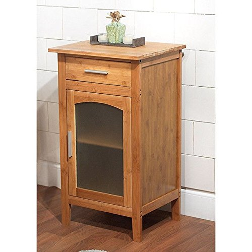 Top Seller Compact Bamboo Linen Floor Cabinet Features 1 Sturdy Drawer in a Natural Wood Finish, 2 Shelves and 1 Glass Door, It Gives You the Ability to Easily Identify Its Contents