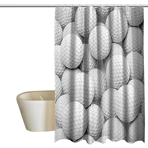 (Sports Decor Collection Funny Shower Curtain Many Golf Balls Together Close Up Picture Challenge Entertainment Joyful Picture Print 100% Waterproof & Antibacterial 108