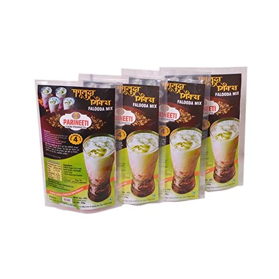 Parineeti Food Products Falooda Mix Kesar Strawberry Badam Pista Flavor( Pack of 4 - 100g Each)