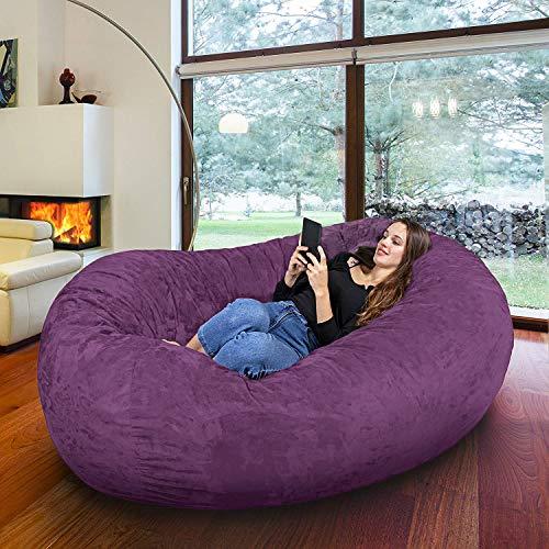 BeanBob Stuffed Animal Bean Bag - Kids Stuffed Animal Storage Bag Chair - Pouf Ottoman for Toy Storage (Giant - 6ft, Purple)
