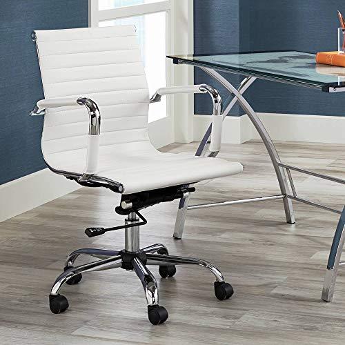 Studio 55D Serge White Low Back Swivel Office Chair