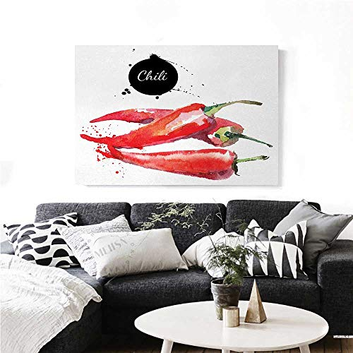 homehot Food Modern Canvas Painting Wall Art Hand Drawn Watercolor Illustration of Chili Pepper Spicy Ingredient Art Stickers 36
