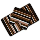Non Slip Striped 2 Piece Bath Mat & Pedestal Mat Brown Multi Stripes by HBS Ltd