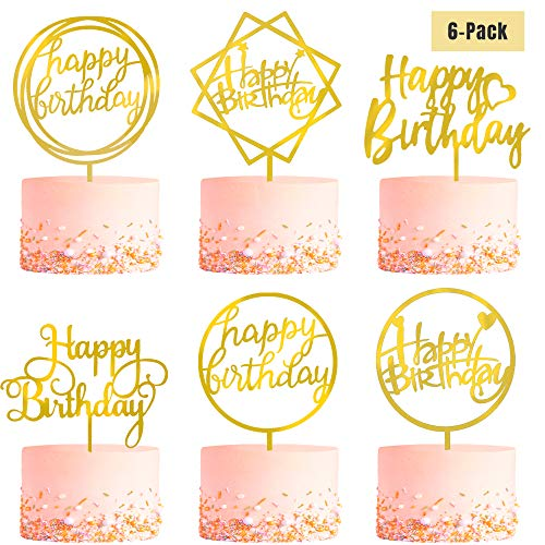 6-Pack Gold Birthday Cake