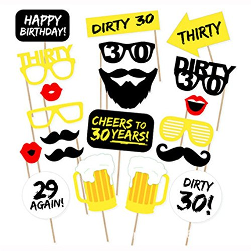 (LASLU DIY 30th Birthday Party Photo Booth Props Kit - Suitable for His or Hers 30th Birthday Celebration - 20 Pcs)