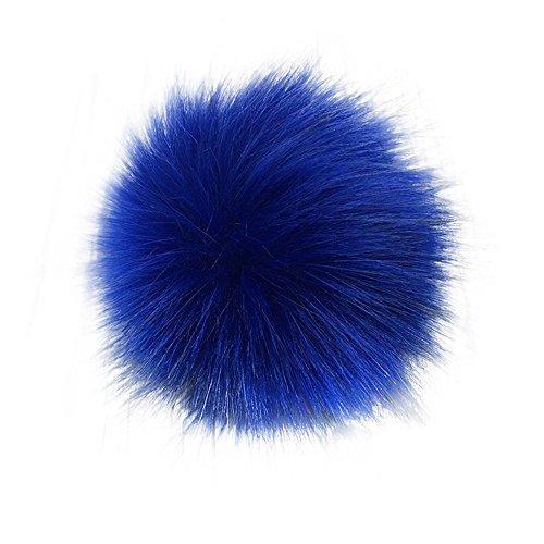 14cm/16cm Soft Faux Fur PomPom DIY Car Handbag Keychain Fluffy Ball Pendant - Royal Blue