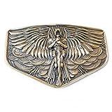 Archangel Michael belt buckle, Christian San Miguel solid brass belt bukle