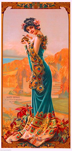 1894 Peacock Series II Woman Green Classic French Nouveau by artist Alphonse Mucha Vintage France Travel Advertisement Picture Poster Print. Picture measures 5 x 13.5 inches.