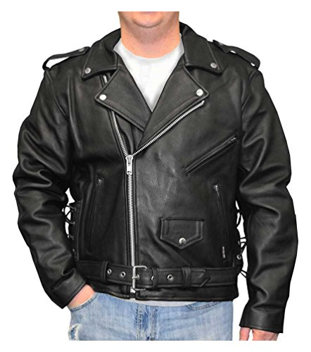 Redline Men's Classic Biker Style Side Lace Leather Motorcycle Jacket M-800 (M)