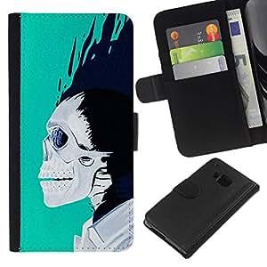 All Phone Most Case / Oferta Especial Cáscara Funda de cuero Monedero Cubierta de proteccion Caso / Wallet Case for HTC One M9 // Teal White Black Skull Blue Flames