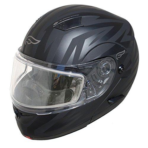 Fulmer, SN-M2B2315D, Adult Full Face Modular Snowmobile Helmet w/Dual Pane Shield - The Darkness, M ()