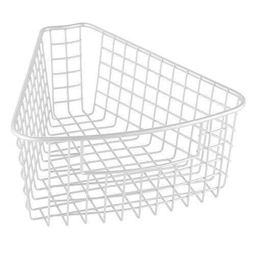 InterDesign Classico Lazy Susan Wire Storage Basket with Handle for Kitchen Cabinets, Pantry - 1/8, Matte White
