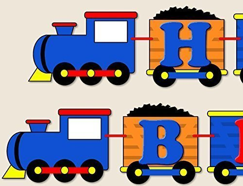 Personalzied Blue, Red, Orange, Yellow Train Birthday Party Garland Bunting Banner - Orange Caboose