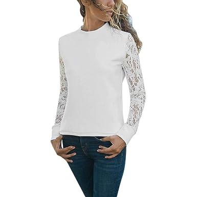 6cc25a122bc07 BHYDRY Camiseta de Manga Larga para Mujer de Manga Larga con Remiendo de  Encaje sólido Top Blusa Camiseta  Amazon.es  Ropa y accesorios
