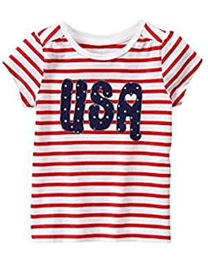 Infant Girls USA Tee 12-18 month by Gymboree - Red & White Striped