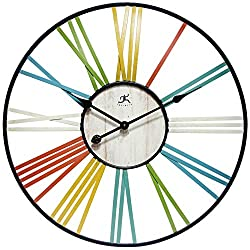 Infinity Instruments Wagon Wheel Multi-Color Large Oversized Metal Wall Clock | 27 inch Decorative Metal Frame Clock | Yellow, Green, Blue, White, Red | Open Face Roman Numerals Quartz Movement