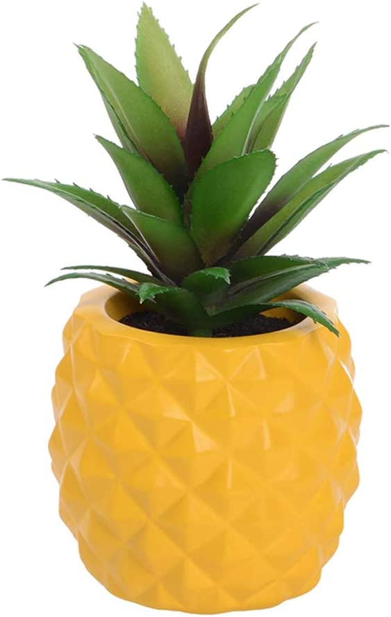 LASPERAL Potted Artificial Succulent Decoration, Fake Pineapple Plant for Home Office Tabletop Decoration (Yellow)