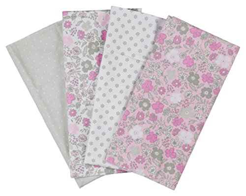 Laura Ashley 4 Piece Ladder Receiving Blanket, Abby Grey Print